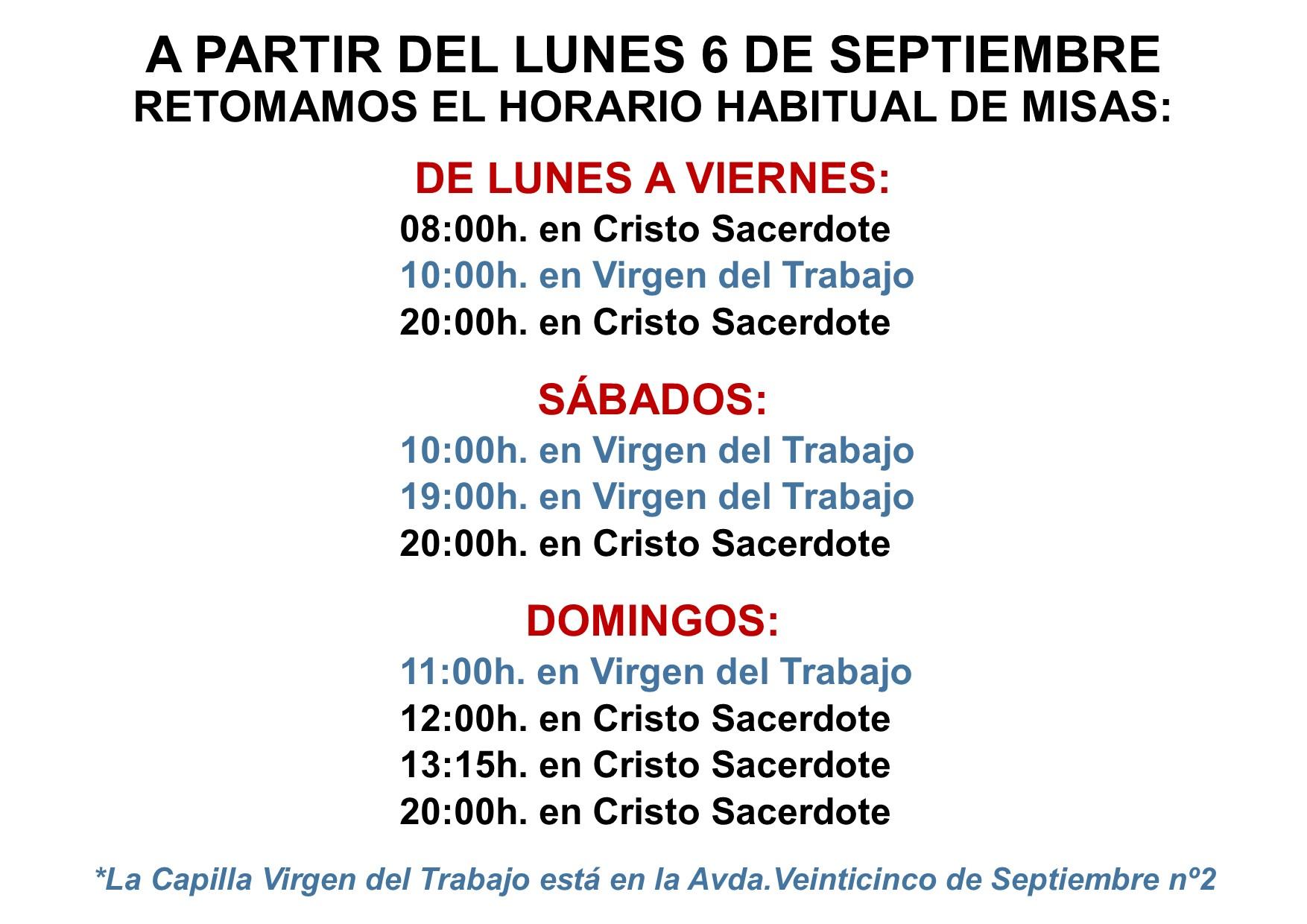 El lunes 7 de septiembre comienza el nuevo horario de misas